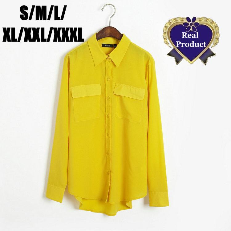 1096 Fashion Women Plus Size Pocket Blouse Camisas Tops Lapel Lemon Yellow  Chiffon Loose Long Sleeve Tops Shirt L 6XL-in Blouses & Shirts from Apparel