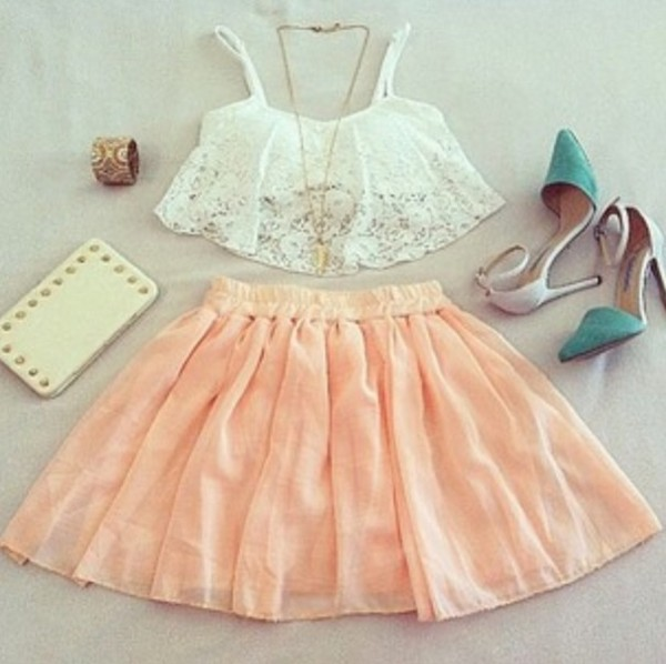 shirt lace crop tops summer skirt pink purse clutch heels tank top top blouse shoes white flowers high waisted skirt style coral skirt