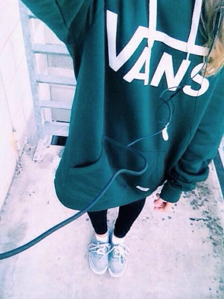sweater green vans sweat