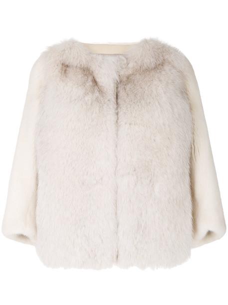 Cara Mila jacket fur fox women silk