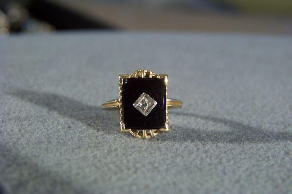 Vintage 10 k Yellow Gold Rectangle Black Onyx Round  Diamond Band  from nicosnostalgia on Ruby Lane