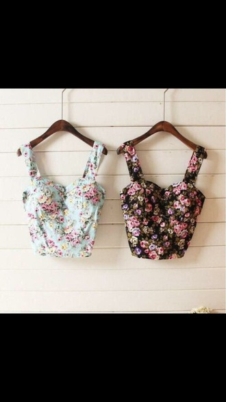 top crop tops haut flowers flower shirt fleur fleurs mignon cute