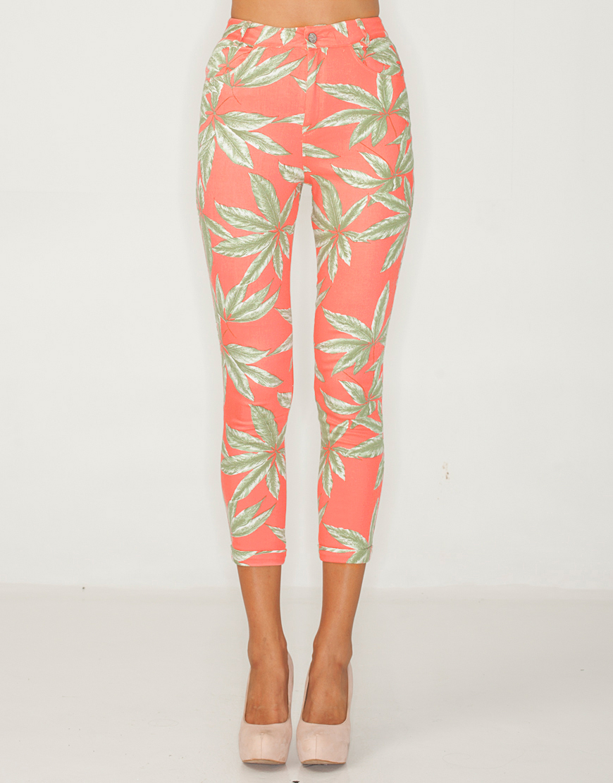 Buy Motel Jodie Skinny Crop Pant in Pink Palm Leaf Print at Motel Rocks