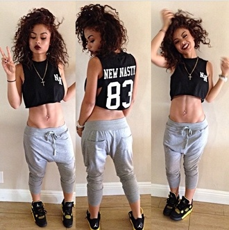 pants india westbrooks sweats black crop top j's a beauty not a beast!!! shirt shoes top t-shirt joggers grey sweatpants sweatpants crop tops jordans tank top blackshirt grey tight cute india love dope swag style fashion black hipster necklace cross necklace new nasty makeup on fleek black shirt jacket cropped bag
