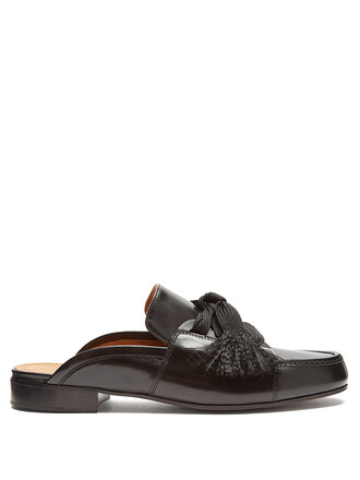 backless loafers lace leather black shoes