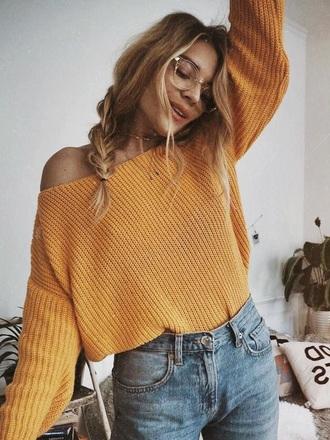 sweater mustard knit cropped