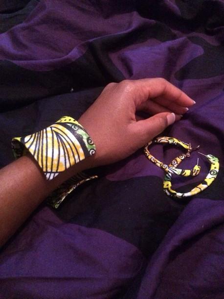 hair accessory bracelet et boucles d'oreilles tissu wax
