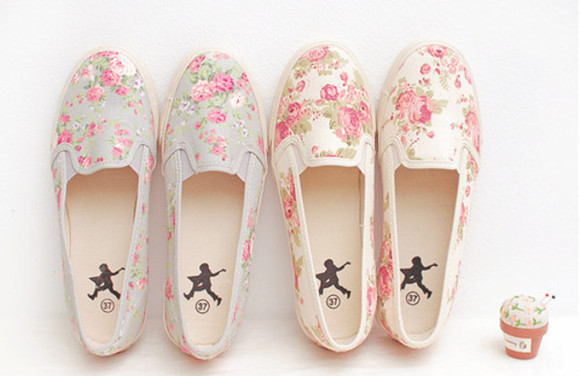 pastel shoes cute flowers print floral sneakers