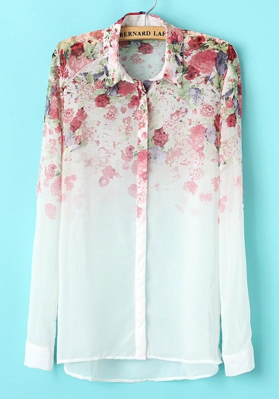 White Floral Print Long Sleeve Chiffon Blouse