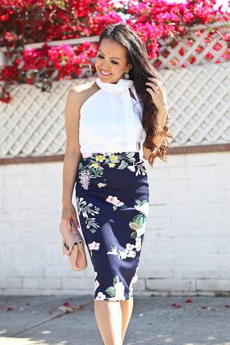 sunglasses stylish petite blogger blouse skirt top bag jewels shoes midi floral skirt