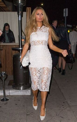 dress midi dress lace dress lace white dress white all white everything paris hilton celebrities in white