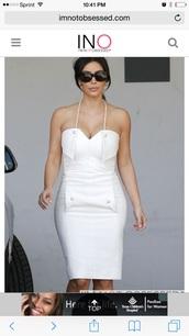 dress,whie dress,kim kardashian dress