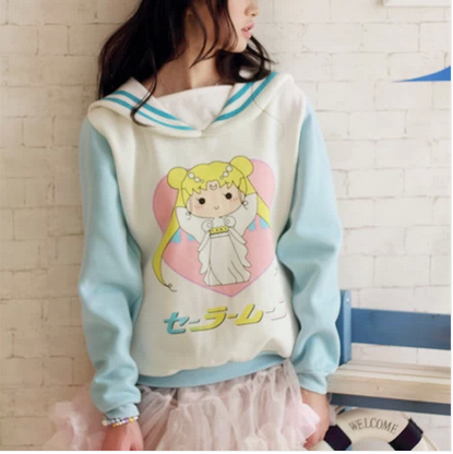 {Free Ship} Sailor Moon Navy Collar Cute Zipper Hoodie Top · HIMI'Store · Online Store Powered by Storenvy