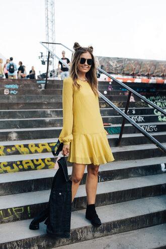 dress sunglasses tumblr mini dress yellow yellow dress long sleeves long sleeve dress boots ankle boots jacket denim jacket shoes
