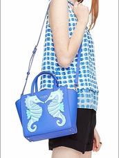 bag,seahorse,blue,turquoise,crossbody bag,kate spade