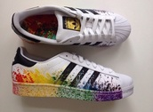 shoes,rainbow,adidas,adidas superstars,black and white,white,black,trainers,addias sneakers,sneakers,gay pride,paint splash,multicolor sneakers