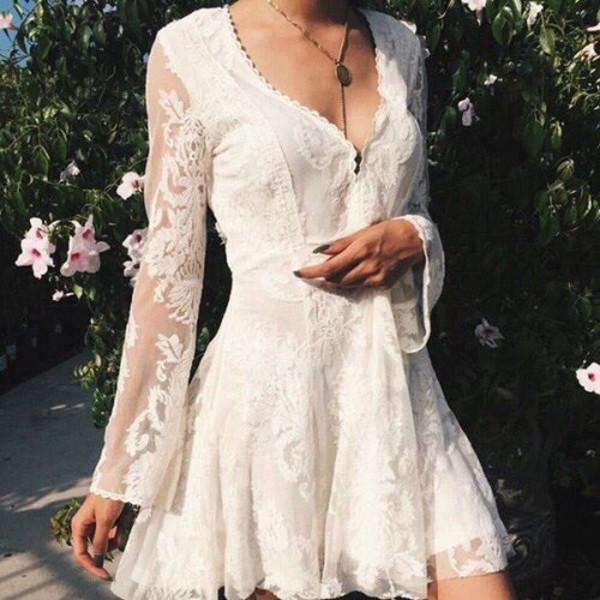dress white lace dress lace dress long sleeve dress
