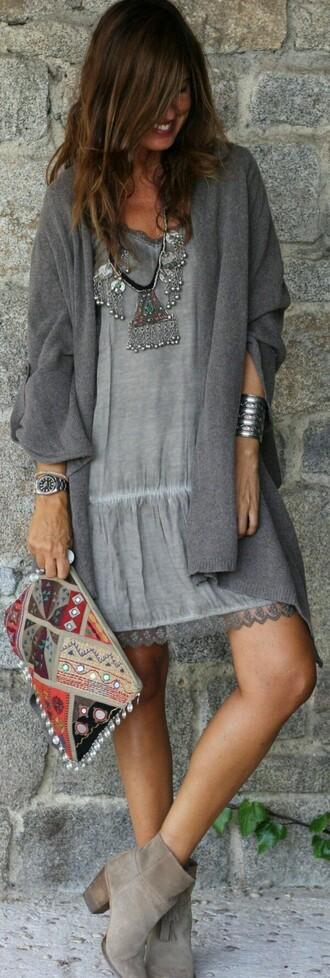 dress boho grey grey dress fashion boho dress