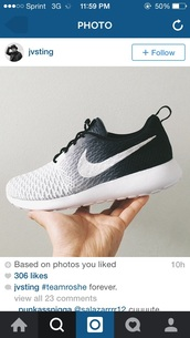 shoes,nike roshe run,black shoes,white shoes,black and white nike rosche,nike,nikes,white nikes,black nikes,faded,low top sneakers,gradient,fade,holiday gift,nike shoes,black,grey,white,trainer,run