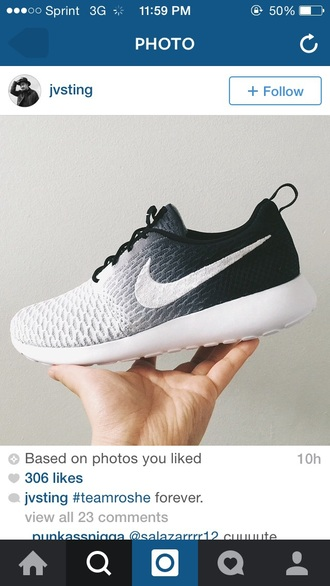 shoes nikes white nikes black nikes nike faded low top sneakers gradient fade holiday gift nike shoes nike roshe run black grey white