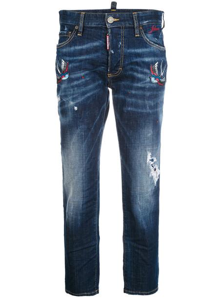 Dsquared2 jeans boyfriend jeans embroidered women spandex boyfriend leather cotton blue