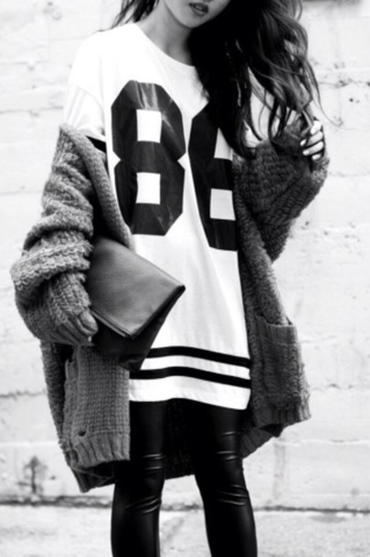Shirt number tee sweater clothes black cute tumblr for Black sweater white shirt