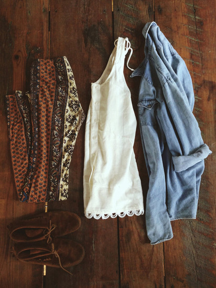 brown pants pants printed pants denim jacket white top boho jacket tumblr tribal blouse shoes