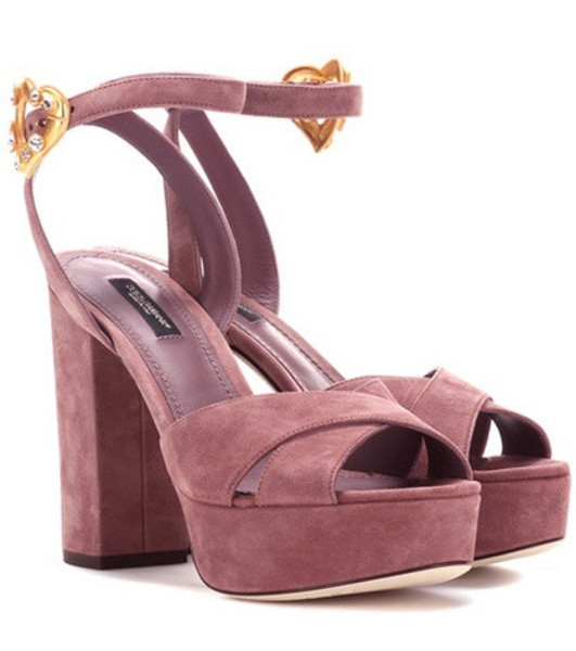 Dolce & Gabbana Exclusive to mytheresa.com – suede plateau sandals in pink