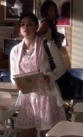 dress,pretty little liars,aria montgomery,lace dress,pink,white,knitted cardigan,sweater