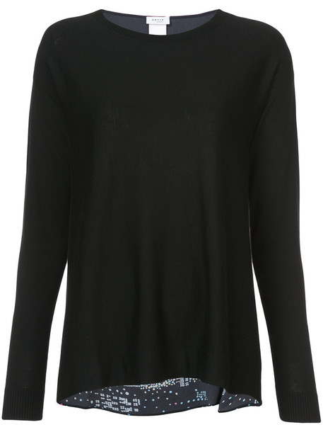 sweater back women black silk wool