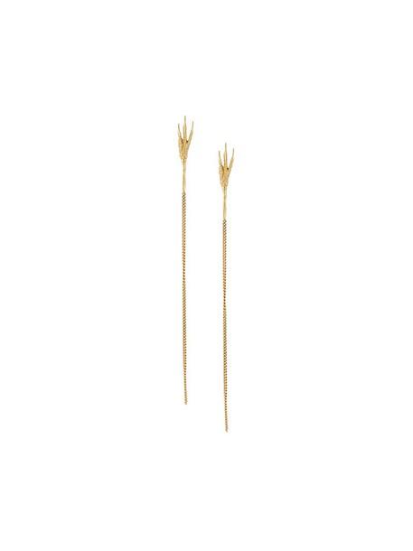 Wouters & Hendrix Gold long women earrings gold yellow grey metallic jewels