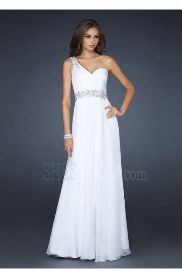 dress floor-length sleeveless one-shoulder chiffon