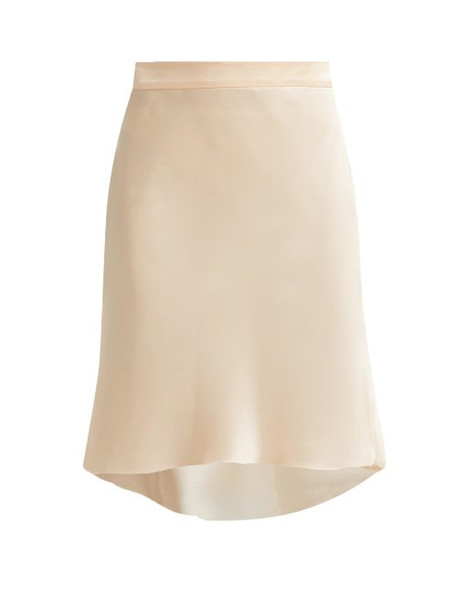 Raey - Bias Godet Silk Satin Slip Skirt - Womens - Nude