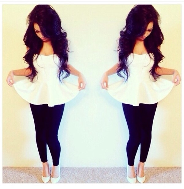 blouse white tank top t-shirt tank top dress top white peplum make-up lipstick