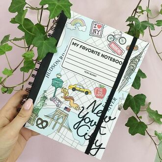 home accessory yeah bunny notebook new york city cute taxi bicycles