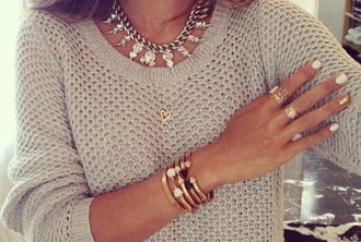 sweater gold grey necklace ring white bracelets manicure brown girly chic oversized sweater jewels