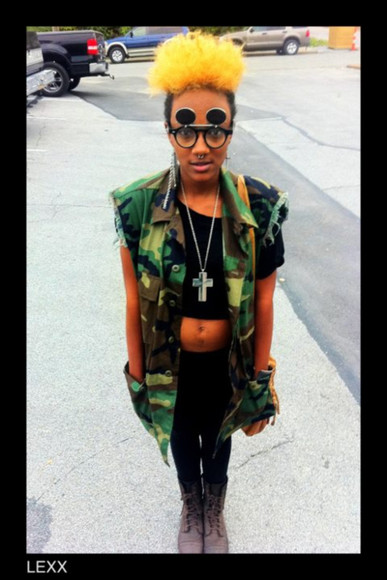 pockets jacket camouflage army jacket vest cross necklace brown combat boots black black crop top black leggings sunglasses hippie glasses vintage glasses glasses nose ring