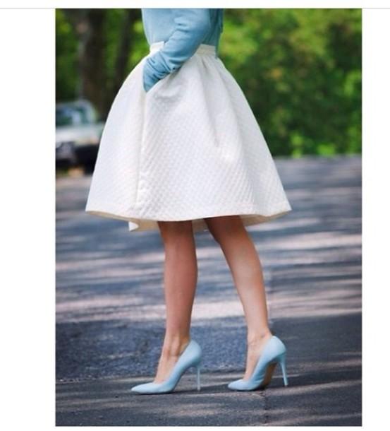 skirt white jackie white skirt white tulip skirt pumps vintage cream blue shoes kneelength summer