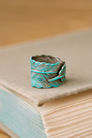 jewels ring feather etsy teal boho bohemian fahsion