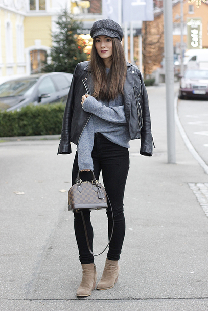 sweater hat jacket jeans shoes seekingsunshine blogger winter outfits fall outfits grey sweater leather jacket handbag louis vuitton bag ankle boots black pants