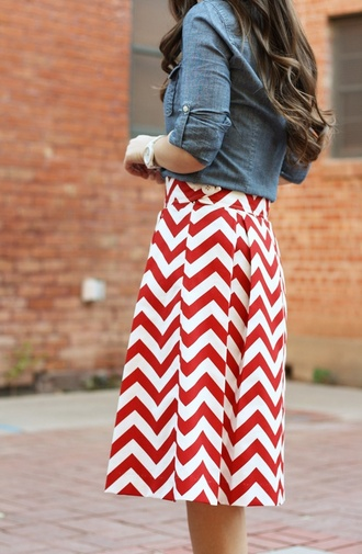 skirt chevron red white knee length spring summer