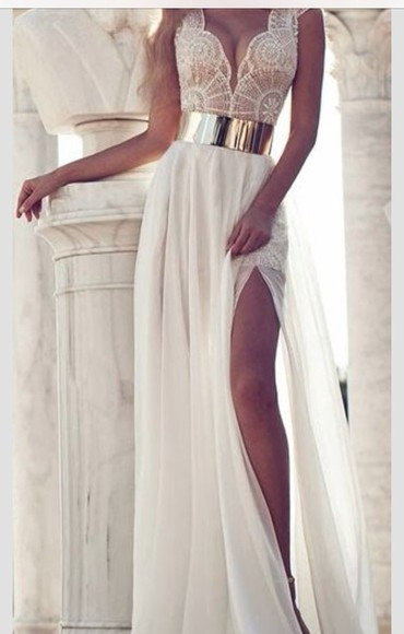 dress white lace maxi dress lace dress metal gold belt slit leg white long dress sexy dress sparkles