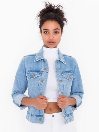 jacket blue jean jacket american apparel