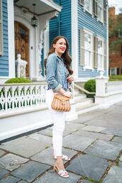 covering bases,curvy,blogger,jacket,top,jeans,bag,jewels,sandals,denim jacket,white pants