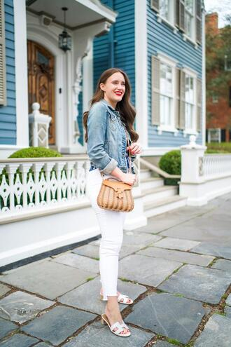 covering bases curvy blogger jacket top jeans bag jewels sandals denim jacket white pants