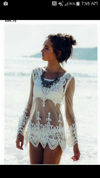 white bikini bikini swimwear swimwear two piece beach dress cover up beach summer outfits shirt dress lace summer girly see through dress coverup bikini blouse top white dress lace dress white boho