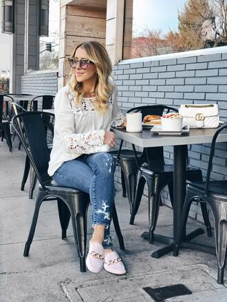 gbo fashion blogger top jeans shoes bag gucci bag white blouse loafers spring outfits