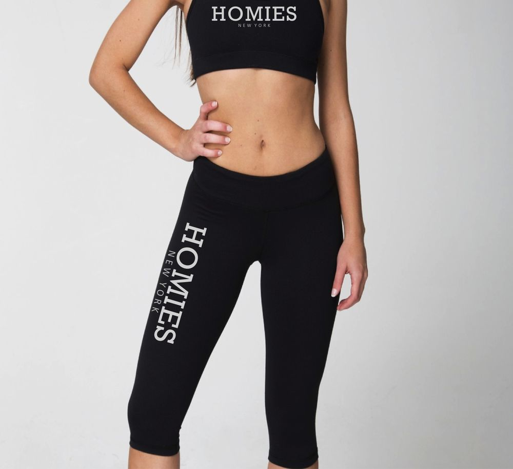 WOMENS CAPRI SWEATPANTS HOMIES NEW YORK FITNESS CAPRI LEGGINGS BLACK, PINK, GRAY