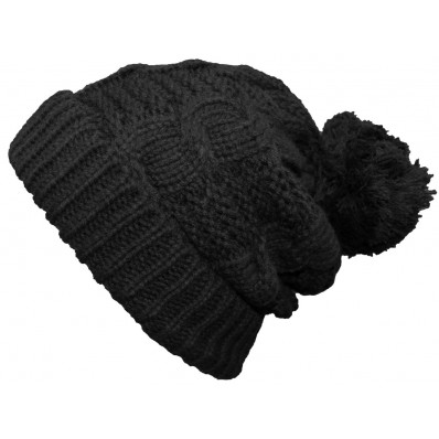 Black Pompom Thick Winter Beanie Hat  | Ingoma Accessories