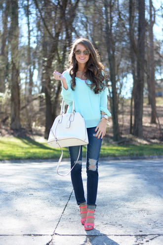 southern curls and pearls blogger white bag mint ripped jeans pullover tank top jeans shoes bag jewels make-up
